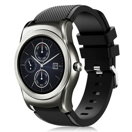 LG Watch Urbane Watch Bands, Mignova Soft Silicone Replacement Sport Watch Wrist Band Strap for LG Wathc R W100 / LG Watch Urbane W150 (Black)