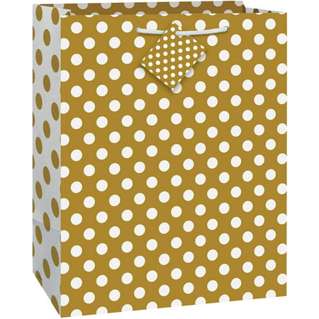 (3 pack) Gold Polka Dot Gift Bag, 12.75