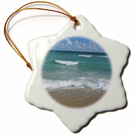 3dRose Miami Beach sand sandy wave ocean water summer holiday vacation tropical blue tranquility serenity - Snowflake Ornament, 3-inch