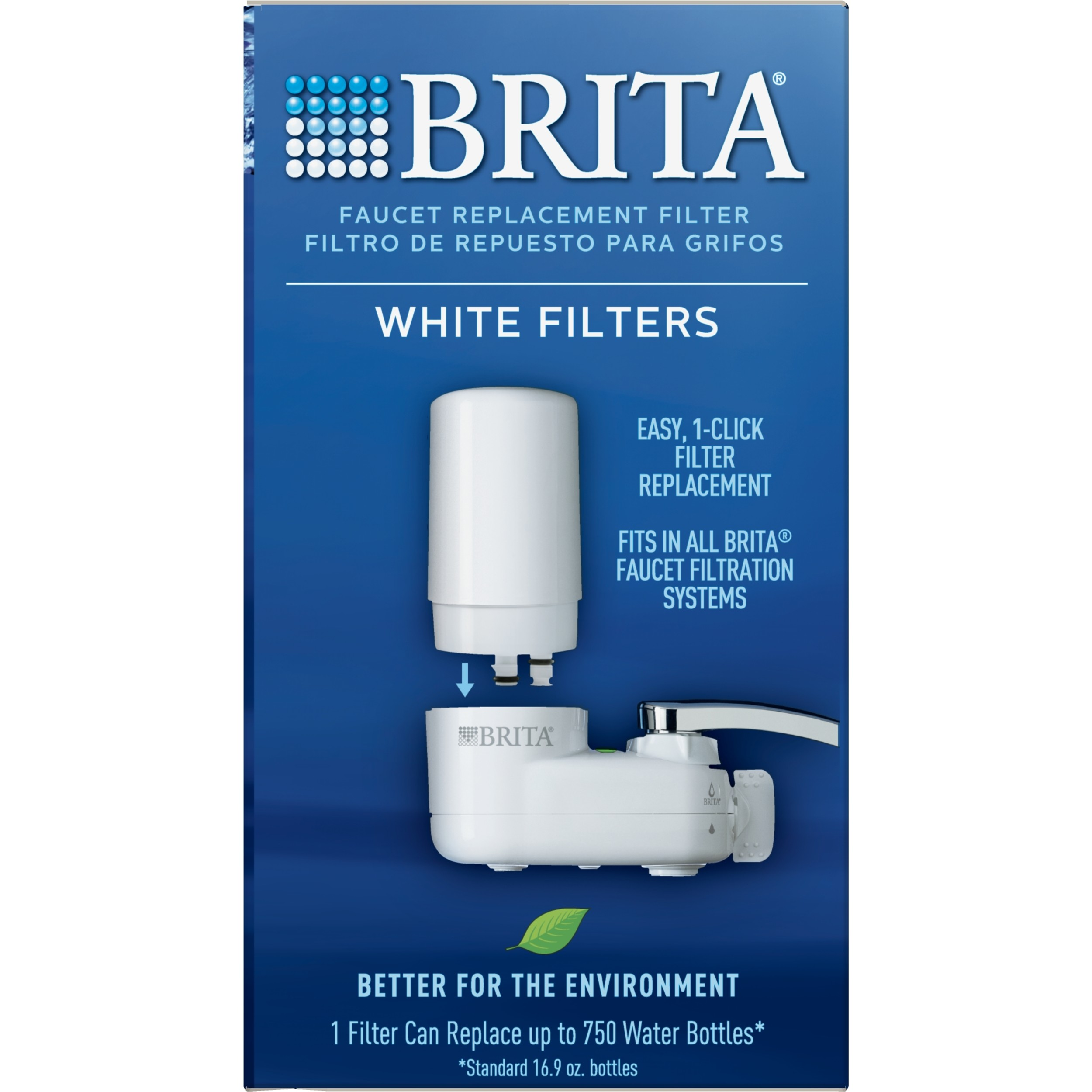 White 3 Four Pack Brita Tap Water Filtration System Replacement Filters for Faucets 3 Count