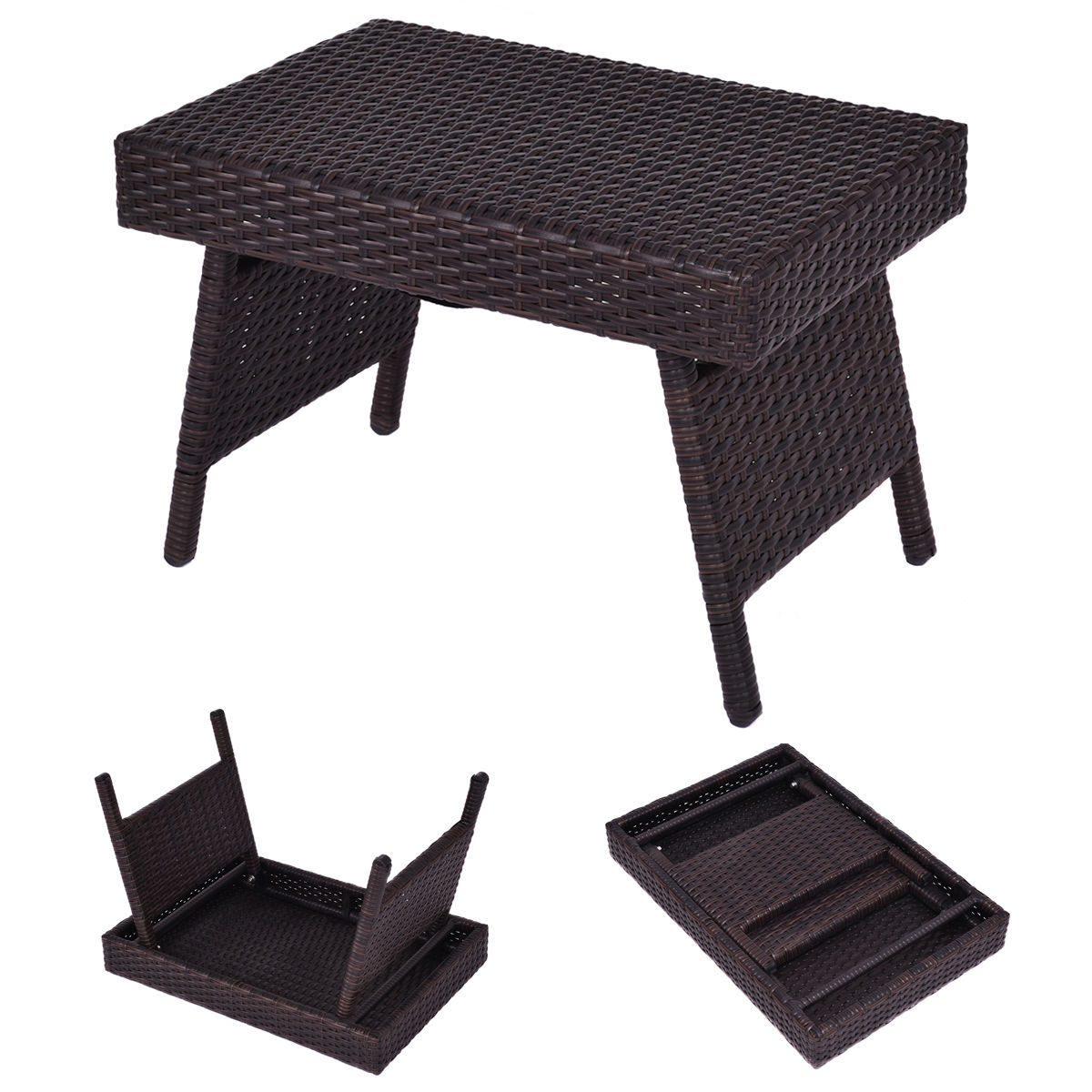 GHP Black Rattan Wicker Off White Cushion Sofa Ottoman & Coffee Table Furniture Set