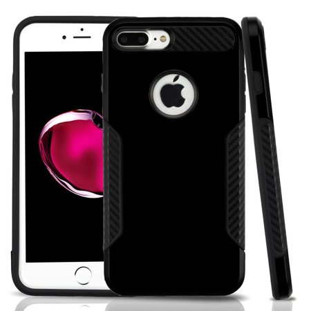 Apple Iphone 7 Plus Case  By Insten Dual Layer Hybrid Pc Tpu Rubber Case Cover For Apple Iphone 7 Plus   Black