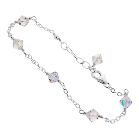 Gem Avenue Sterling Silver Clear AB Bicone Crystal Anklet Adjuatable Swarovski Elements