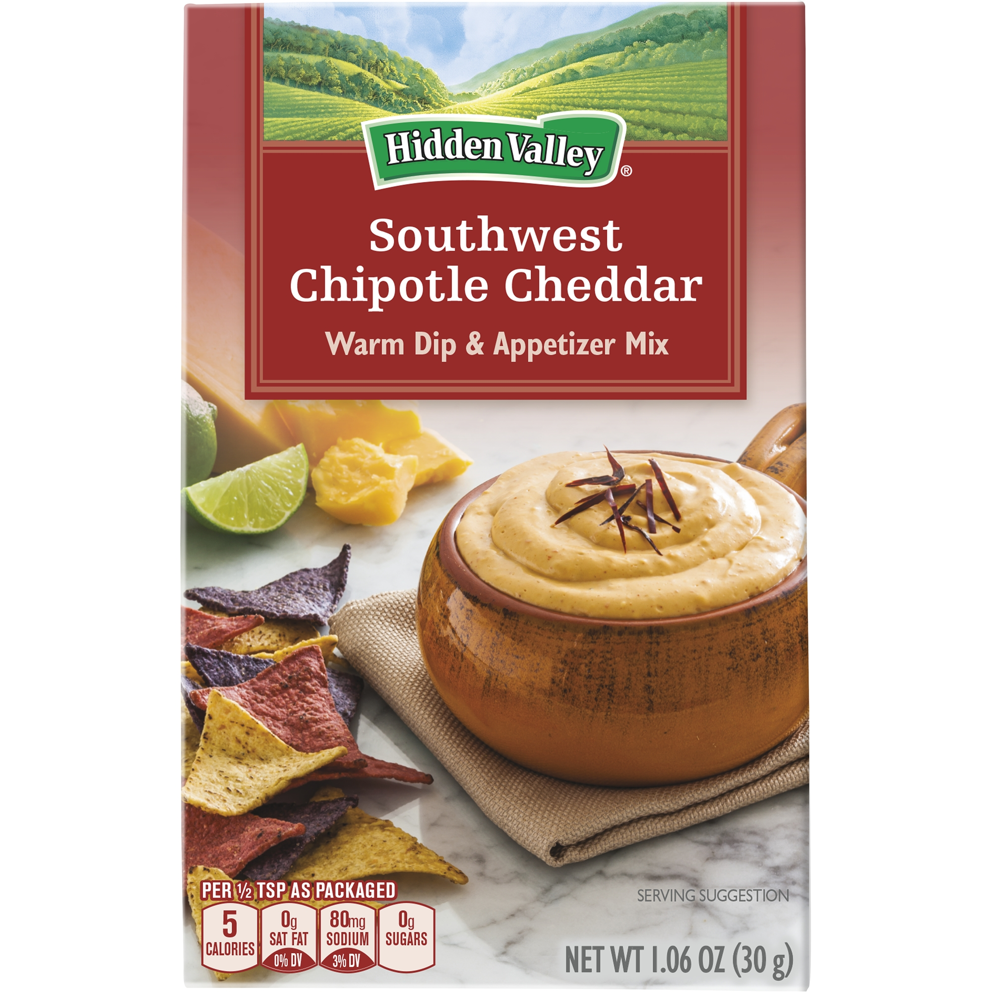 Hidden Valley Warm Dip & Appetizer Mix, Southwest Chipotle Cheddar, 1.06 Ounces by The HV Food Products Co.