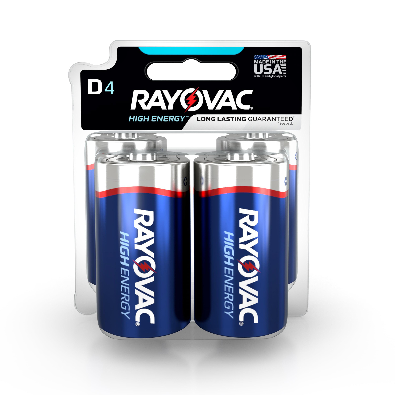 Rayovac High Energy Alkaline, D Batteries, 4 Count