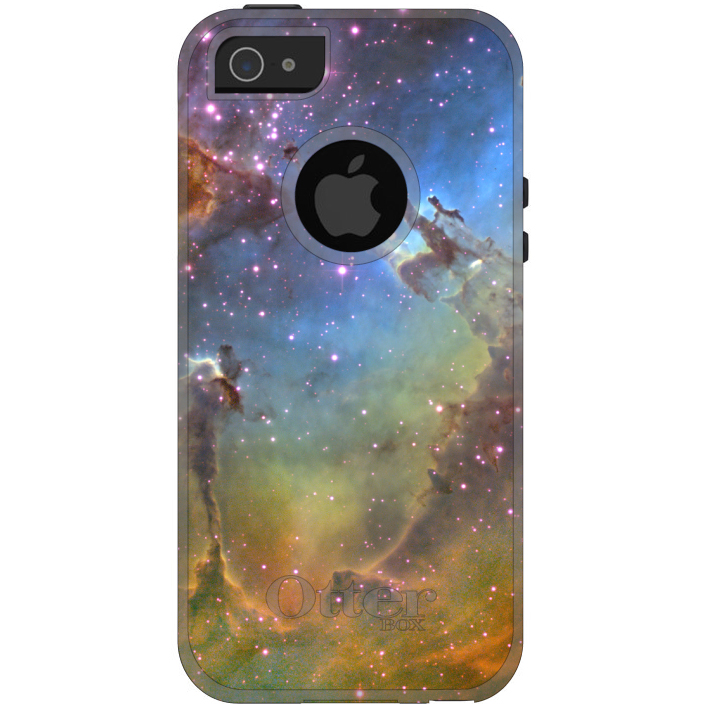 DistinctInk™ Custom White / Grey OtterBox Commuter Series Case for Apple iPhone 5 / 5S / SE - Eagle Nebula Orange Blue