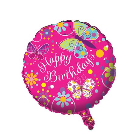 """Pack of 10 Butterfly Sparkle Metallic """"Happy Birthday"""" Foil Party Balloons"""