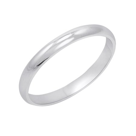 Women's 10K White Gold 2mm Classic Fit Plain Wedding Band  (Available Ring Sizes 4-8 -