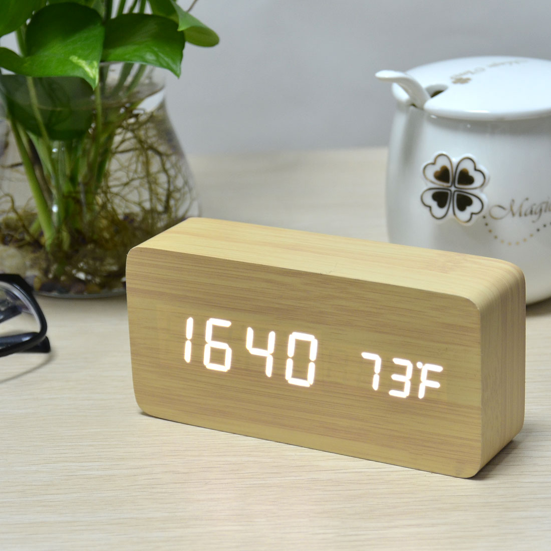 Wooden Digital Alarm Clock Voice Control Activated Bamboo Wood White LED