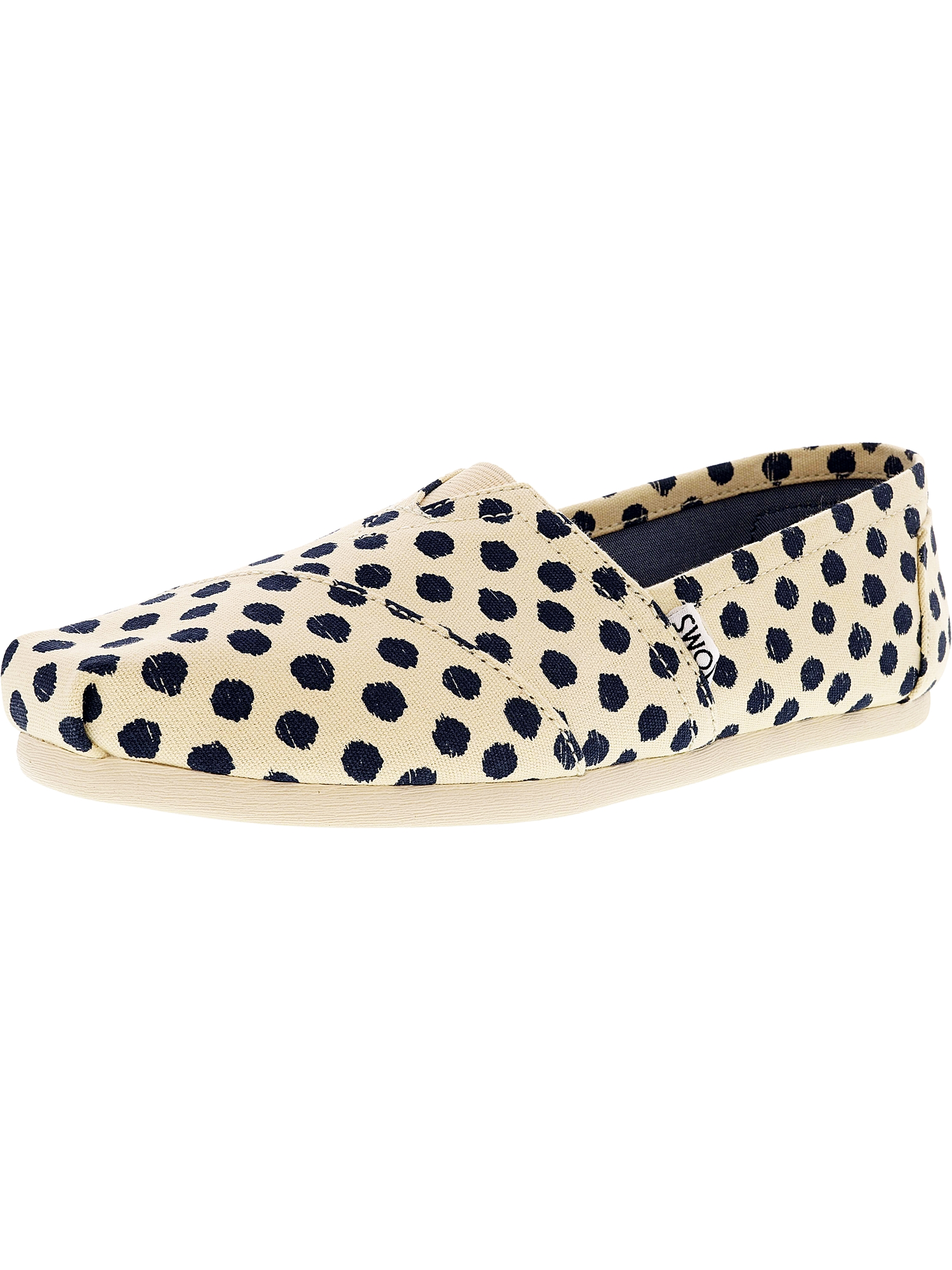 Toms Women's Classic Canvas Natural Navy Polka Dot Ankle-High Flat Shoe - 8M