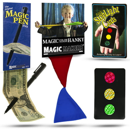 Magic Makers Color Changing Hanky, Stop Light Cards and Magic Pen Magic Tricks (Hanky Magic Trick)