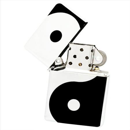 KuzmarK White Windproof Flip Top Lighter -  Ying Yang Art