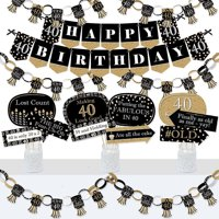 Adult 40th Birthday - Gold - Banner and Photo Booth Decorations - Birthday Party Supplies Kit - Doterrific Bundle