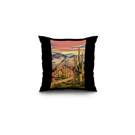Desert Cactus Trail Scene at Sunset - Lantern Press Artwork (16x16 Spun Polyester Pillow, Black Border) (Desert Scene)