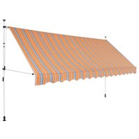 "vidaXL Manual Retractable Awning 157.5"" Yellow and Blue Stripes"