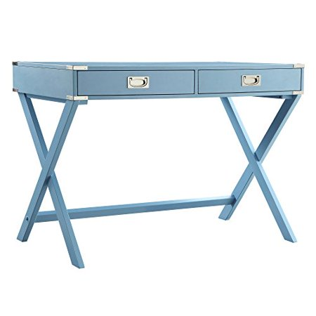 ModHaus Living Modern Wood Accent X Base Student Computer Writing Office Desk with 2 Drawers - Includes Pen (Light Blue)
