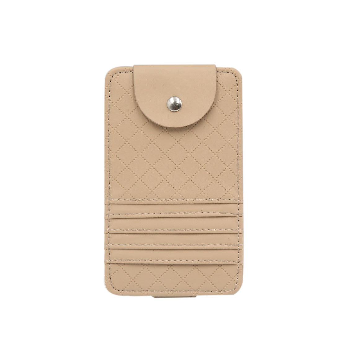 Beige Faux Leather Business Name Credit Card Holder Case Bag For
