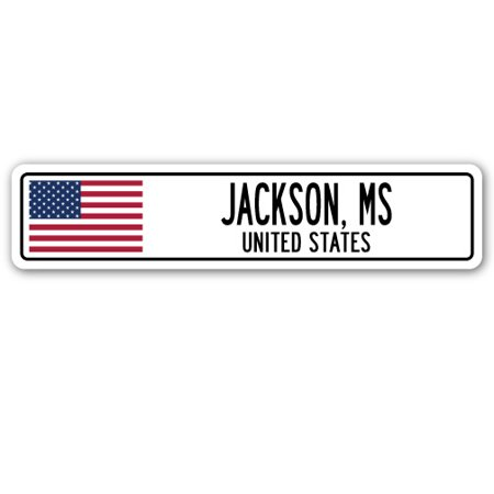 JACKSON, MS, UNITED STATES Street Sign American flag city country   gift - Party Store Jackson Ms