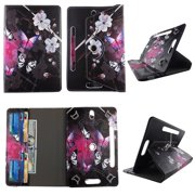 """White Flower Butterfly tablet case 8 inch  for Samsung Galaxy Tab A 8"""" 8inch android tablet cases 360 rotating slim folio stand protector pu leather cover travel e-reader cash slots"""