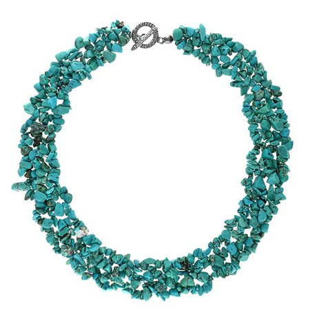 Stabilized Turquoise Gemstone Chunky Cluster Bib Chips Statement Multi Strand Statement Necklaces Silver Plated Clasp