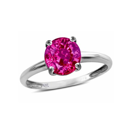 - Star K Simulated Pink Tourmaline Round 7mm Classic Solitaire Engagement Promise Ring