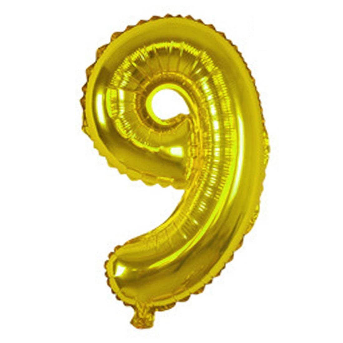"Unique Bargains Foil Number 9 Shape Helium Balloon Birthday Wedding Decor Gold Tone 16"""