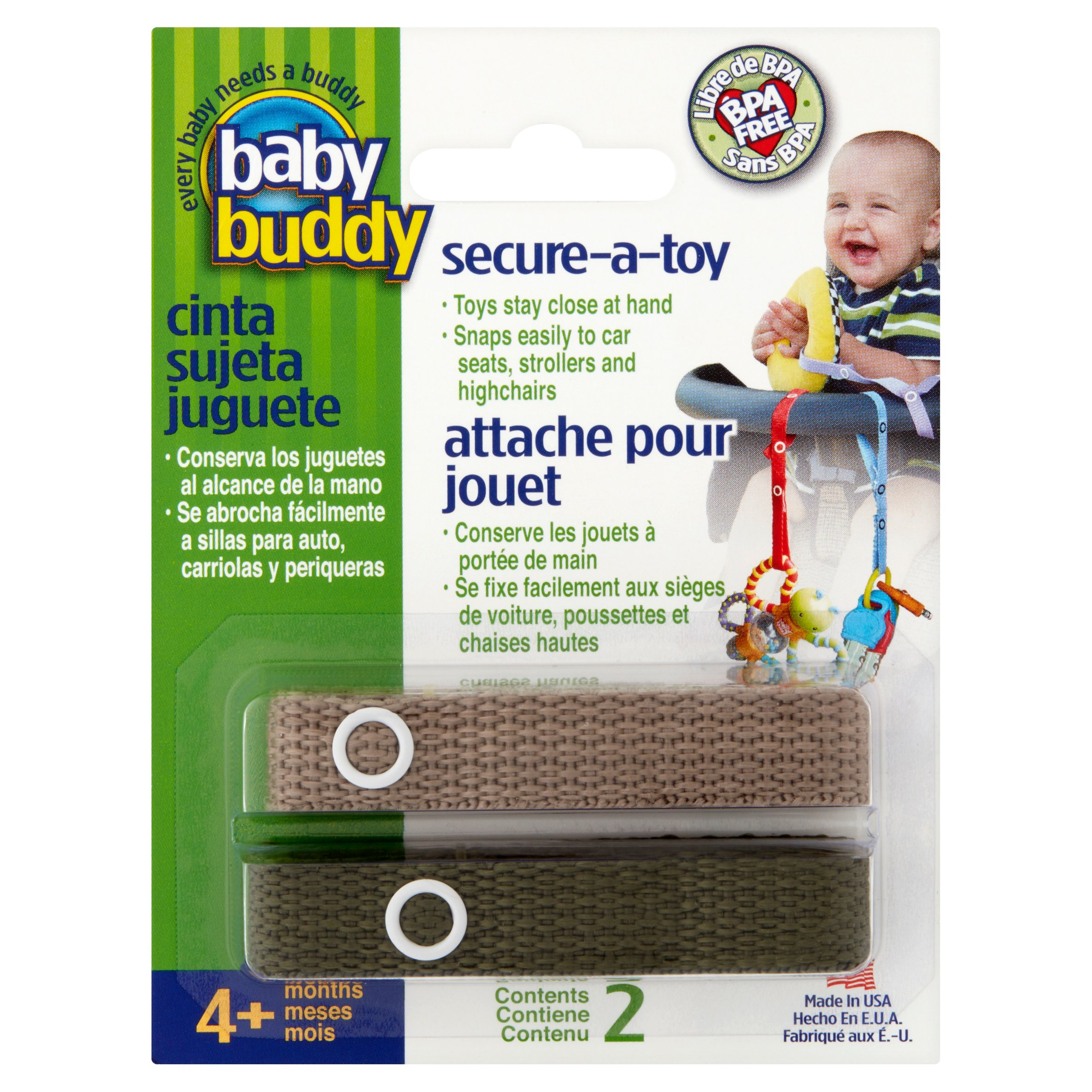 Baby Buddy Secure-A-Toy Strap, 4+ Months, 2 count