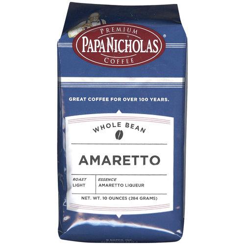 PapaNicholas Premium Coffee Amaretto Whole Bean Coffee, 10 oz