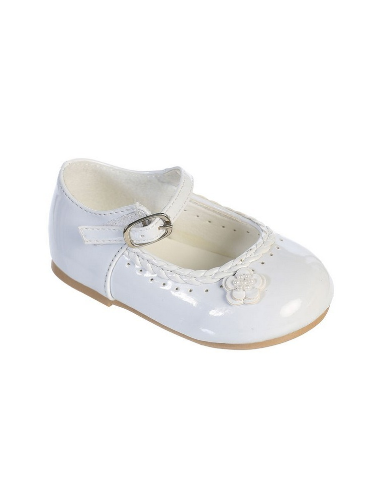 Little Girls White Braided Edging Flower Patent Leather Dress Shoes