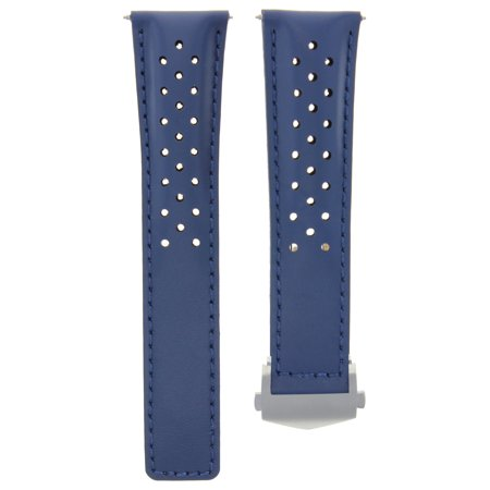 22Mm Blue Leather Band Strap For Tag Heuer Monaco Carrera Calibre 16 .1887