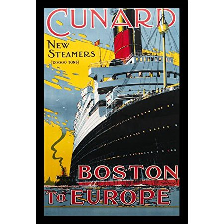 FRAMED Cunard Boston to Europe 18x12 Vintage Travel Art Print Poster Reproduction Cruise (Europa Art)
