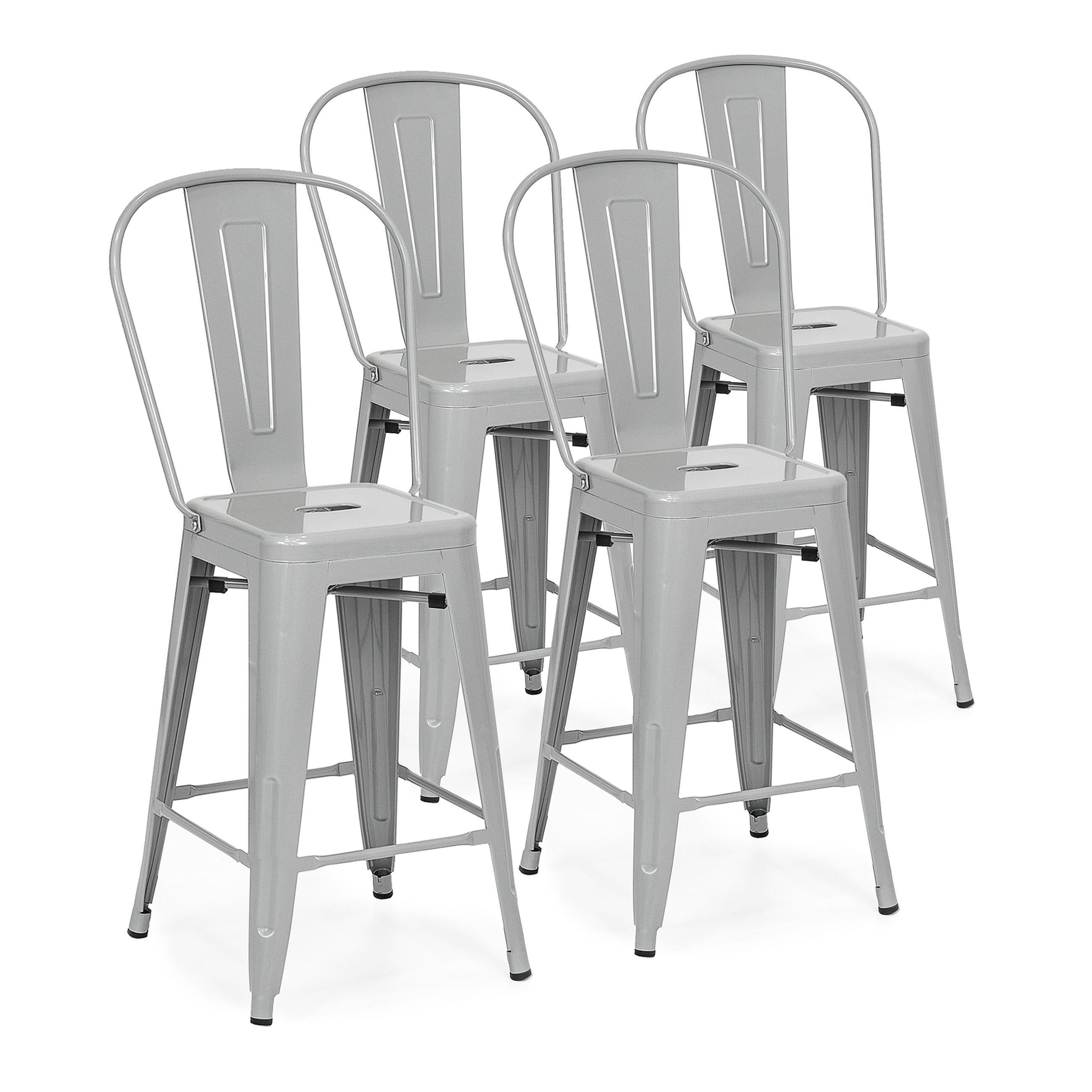 Best Choice Products 24in Set of 4 High Backrest Industrial Metal Counter Height Stools - Silver