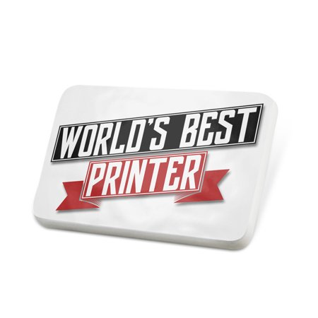 Porcelein Pin Worlds Best Printer Lapel Badge –