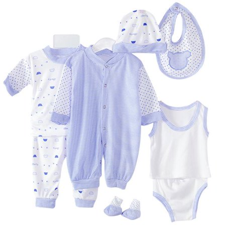 8PCS Layette Newborn Baby Gift Set - All the Essentials - Jumper+Hats+Socks+Bib+Tops+Pants