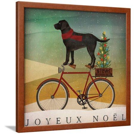 Black Lab on Bike Christmas Framed Print Wall Art By Ryan Fowler