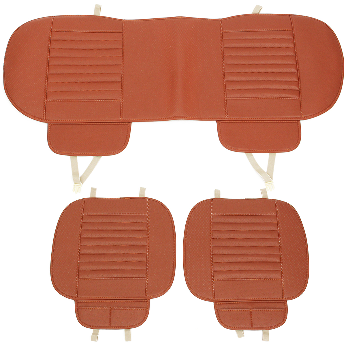 3Pcs Car Universal Seat Cover Pad Chair Cushion Bamboo Breathable PU Leather US