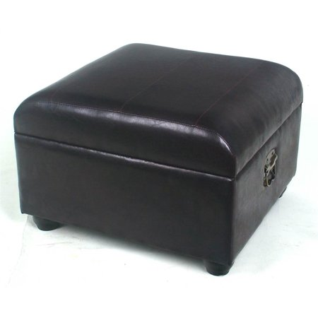 Faux Leather Square Chocolate Ottoman