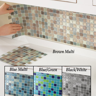 Mosaic Backsplash Tiles   Set Of 6 BrownMulti