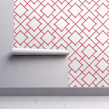 Removable Water-Activated Wallpaper Pink Bamboo Bamboo Geometric](Pink Bamboo)
