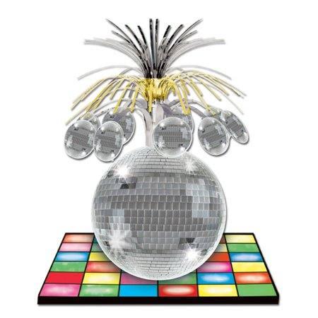 Club Pack of 12 Multi-Colored Dance Floor and Metallic Disco Ball Centerpiece Decorations 13