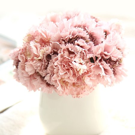 Holiday Clearance Artificial Silk Flower Carnation 6 Heads/Bouquet for Wedding Party Home Decoration ()
