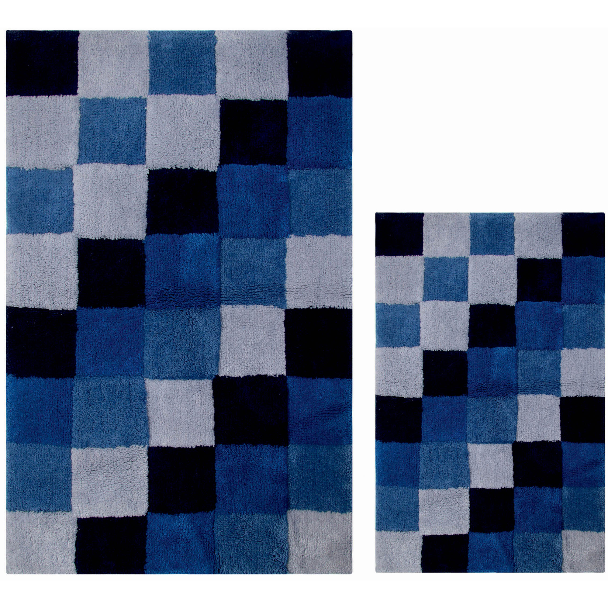 Tiles 100 Percent Cotton Bath Rug and 2-Piece Rug Set