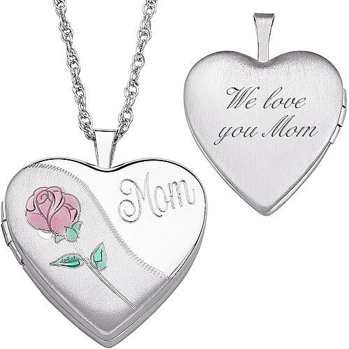 "Personalized Women's Sterling Silver Engraved ""Mom"" Heart Locket Pendant, 20"""