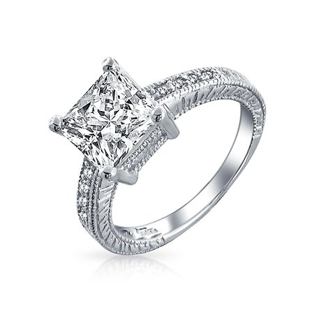- Bling Jewelry Sterling Silver 2.9ct CZ Princess Cut Engagement Ring