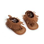 Baby Girl Sandals 0-12M US Stock Newborn Baby Girl Anti-Slip Soft Sole Tassel Moccasin Sandal