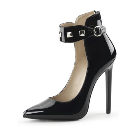 983ac886d0c Womens Closed Toe Shoes Black Studded Ankle Strap Pumps Stilettos 5