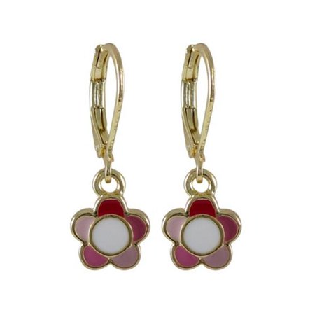 Dlux Jewels Pink Multi Enamel 9 mm Flower Dangling with Gold Plated Brass Lever Back Earrings - image 1 of 1