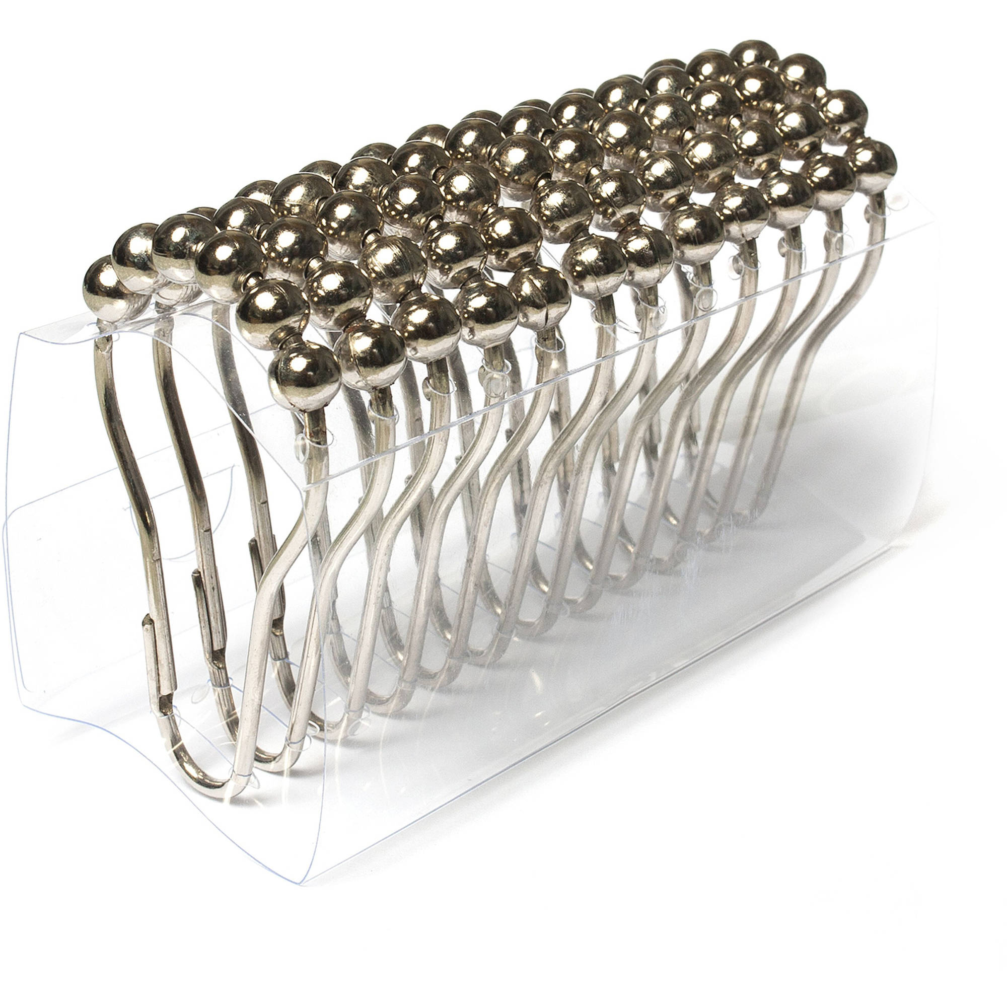 Shiny Roller Ball Chrome Bathroom Shower Curtain Rings Hooks, Set of 12
