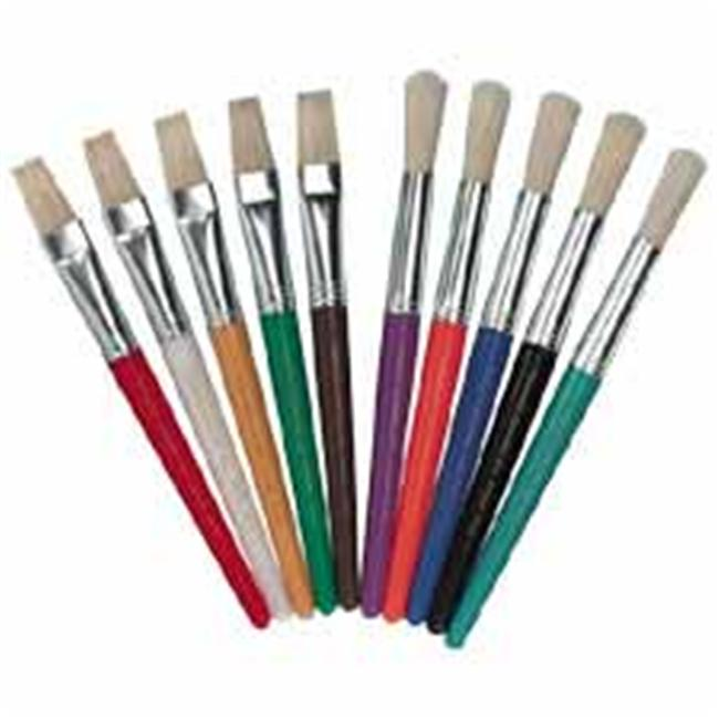 Paint Brushes- Natural Bristles- Round- 7-.50in. Hdle- 10-ST- Asst.