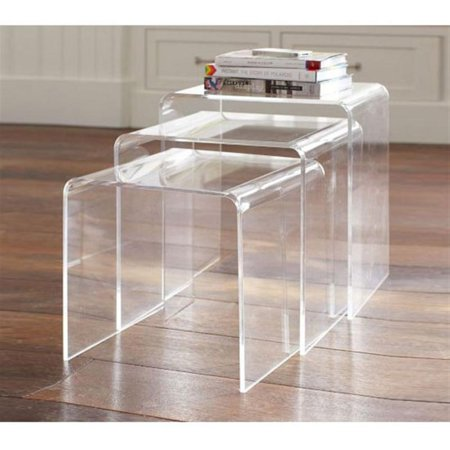 HomCom 3 Piece Stackable Nesting Acrylic End Tables - Clear for $<!---->